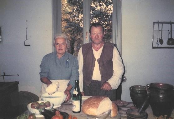 Zio Giovanni & Zia Pia making butter